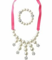 Olive Pearl Bib necklace & bracelet set for girls $15