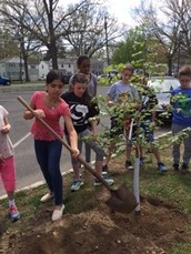 Harding School students Plant Tree in honor of Earth Day