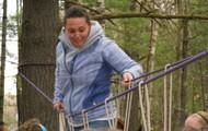 Ms. Klaus on the rope bridge