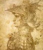 Profile of Warrior in Helmet