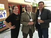 Emily, Dave Lund (principal) and Todd Sorensen (board member)