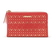 Perforated Double Clutch - Geranium