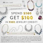 $100 free jewelry credit