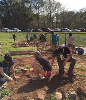 Science Dept: AP Biology is digging in the dirt.
