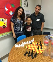 Mentors from Applied Materials & Oracle:  Alba Figueroa and Jaime Figueroa with mentee Haziel Landaverde (3rd grader @BTE) not pictured mentee Rosa Flores (3rd grade)