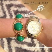 Green and gold zinnia bracelet