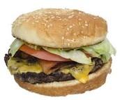 una hamburguesa $6.00