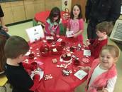 Making Valentine cards for the children's hospital