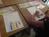 First grade in Krista Yarbrough's working on her M&M graph