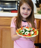Promotes children to eat healthy food, such as salad.