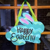 Happy Easter Bunny Wooden Cutout