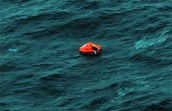 Life raft in the ocean
