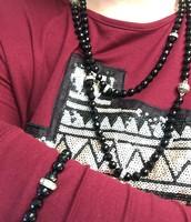 Jet Black Glass Convertible Necklace