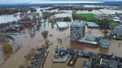 A flooded city caused by climate change