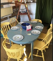 Gray Table ($345) and 6 Yellow Chairs ($450) ~ $715 for table and chairs
