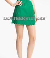 Buy Scalloped Hem Spring Suede Online Leather Skirt for women