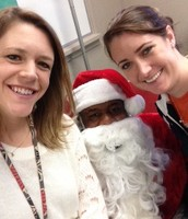 Chelsea and Kellie with Santa Clay
