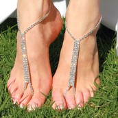 Straight Down Silver Rhine-Filled Barefoot Sandal