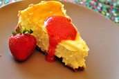 key lime with strawberry sauce