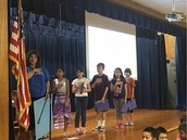 Ms. Garcia's 4th Grade Panthers Lead Us In The Pledges At Assembly!