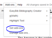 Select Add-ons  in Google Docs