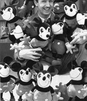 Walt with plush Micky Mouse dolls