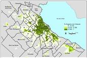Polluted areas near Matanza-riachuelo basin