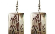 Bamboo Silver MOP Earrings