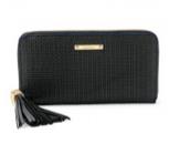 Mercer zip wallet - Black Basketweave