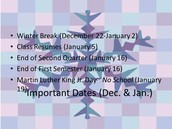 Important Dates (December and January)