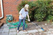 Use a broom instead of a hose to save water.