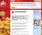 You can wendys on twitter and facebook