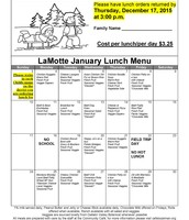 January 2016 Lunch Menu