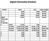 Digital Citizenship Schedule