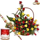 Rakhi with 40 Red & Yellow Roses Basket and 1Kg Rasgulla