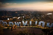 Los Angeles from behind the famous Hollywood sign.
