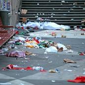 littering (not throwing away trash)