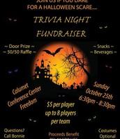 Trivia Night Fundraiser Sunday, October 25
