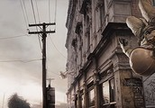 An imaginative painting exploring gravity by Jeremy Geddes