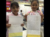 2nd grade students proud to display their writing!