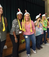 Mrs. Steele and Mrs. Searl in chicken hats