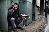homeless man asking for money