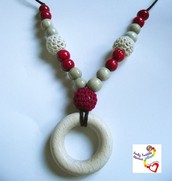Red and cream wooden crochet teether