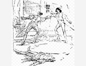 Rome Mantague and Tybaly Capulet fighting