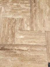 ---Veincut Mocha French Pattern Brushed and Straight Cut Tile--