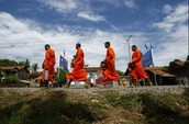Monks, Young And Old, March In Protest Of Cambodian Hydroelectric Project