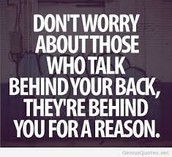 Don`t worry bout the small stuff behind you.