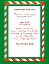 Holiday Spirit Week Dec 14-17!
