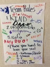 We made our team rules and have been practicing them daily!