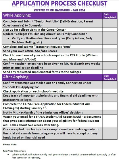 College Application Checklist | Smore